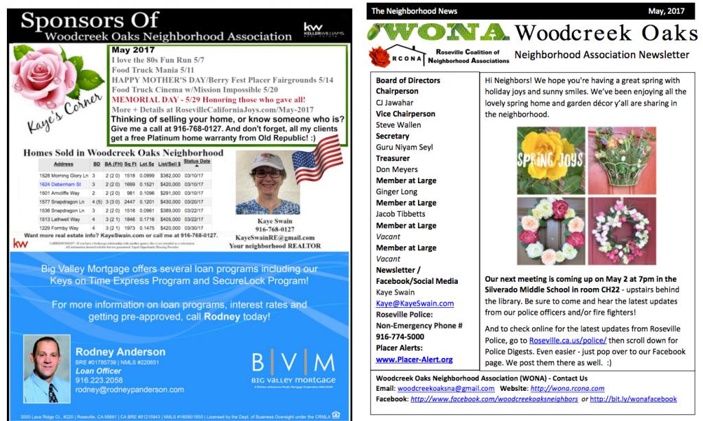 Woodcreek Oaks Neighborhood Newsletter May 2017 via Kaye Swain pg 1