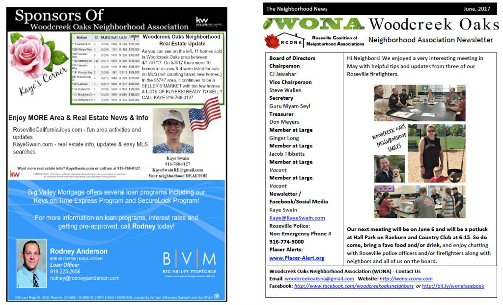 Woodcreek Oaks newsletter June 2017 Page 1 via Kaye Swain